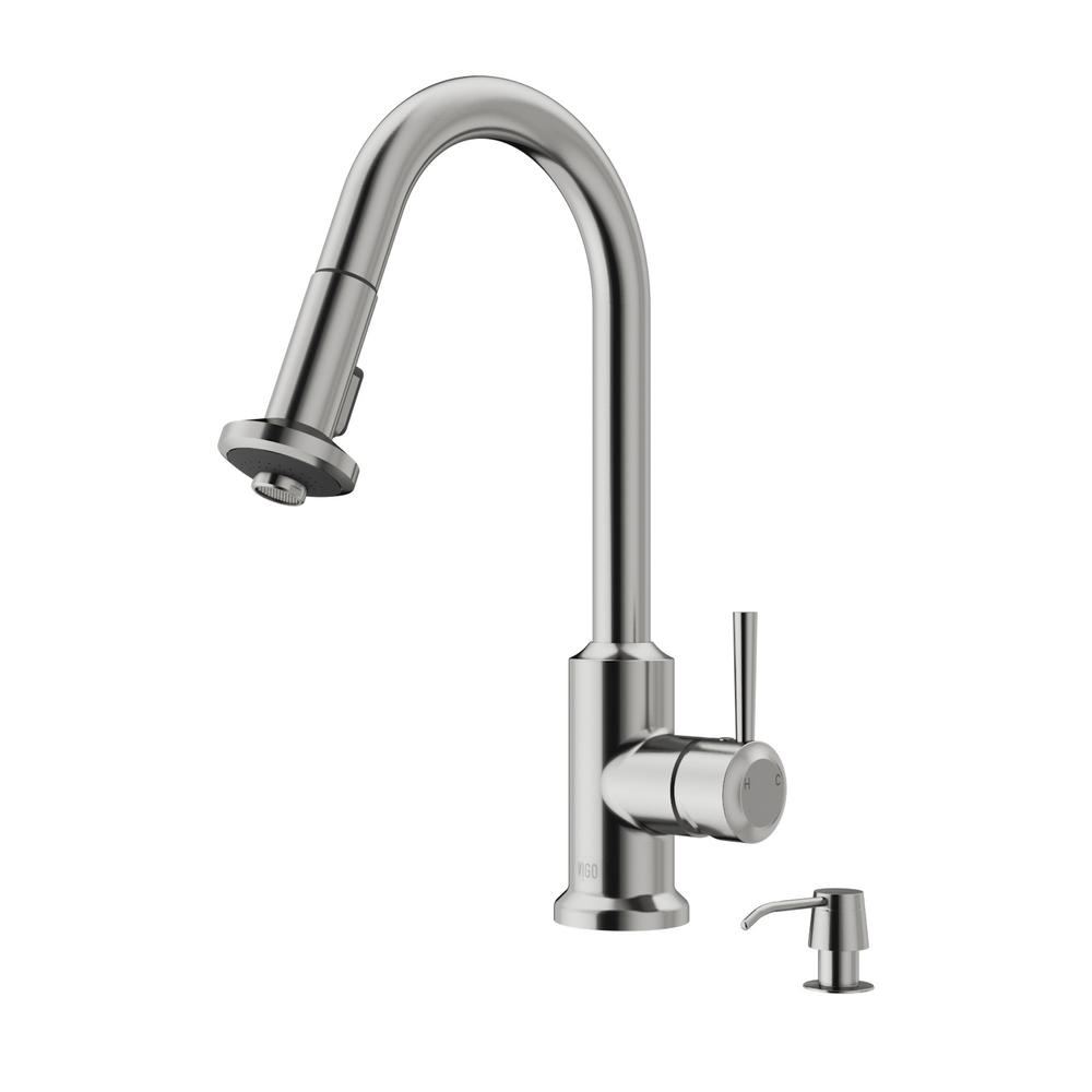 vigo kitchen faucet vigo single handle pull out sprayer kitchen faucet with soap dispenser in stainless steel 1298