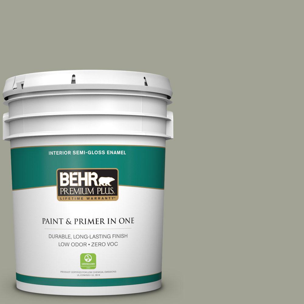 BEHR Premium Plus Home Decorators Collection 5-gal. #HDC-NT-01 Woodland Sage Zero VOC Semi-Gloss Enamel Interior Paint