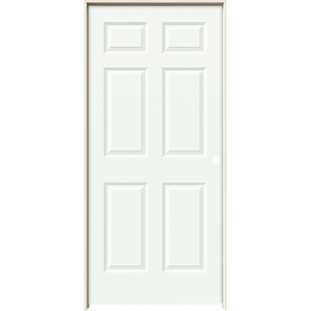 36 in. x 80 in. Colonist White Painted Left-Hand Textured Molded