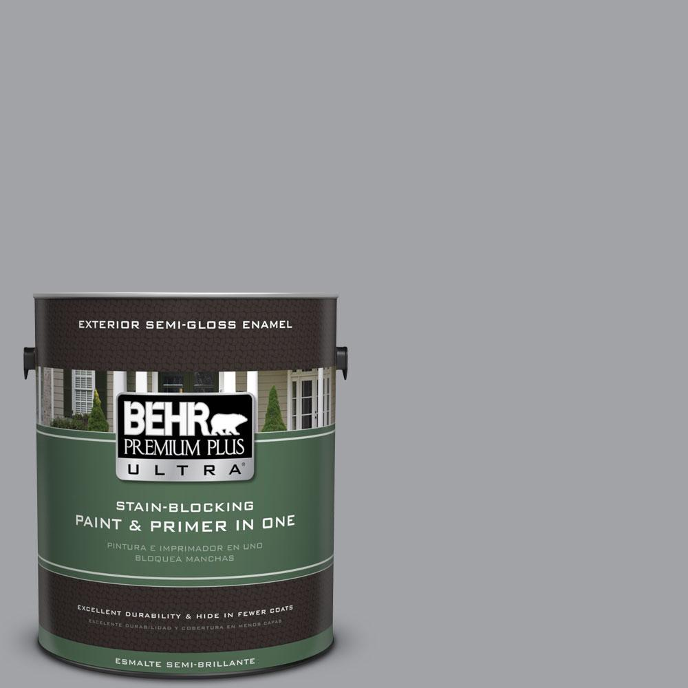 BEHR Premium Plus Ultra 1-gal. #N530-4 Power Gray Semi-Gloss Enamel Exterior Paint