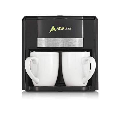 2-Cup Black Coffee Maker with Automatic-Shut Off Feature and 2 Mugs