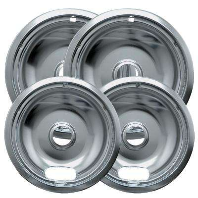 6 in. 2-Small and 8 in. 2-Large Drip Bowl in Chrome (4-Pack)