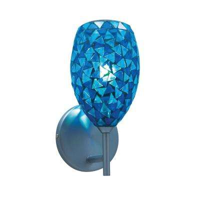 1-Light Low-Voltage Blue Companion Wall Sconce with Mosaic Glass