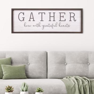 Gather With Grateful Hearts Wood Decorative Sign