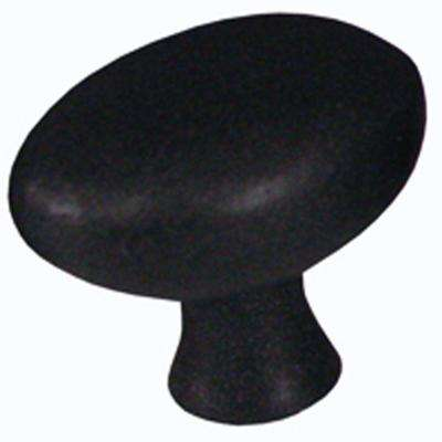 1-1/4 in. Black Egg-Shaped Cabinet Knob (Set of 5)