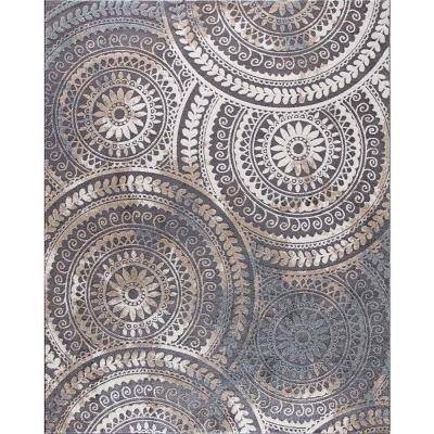 Spiral Medallion Cool Gray Tones 5 ft. x 7 ft. Area Rug