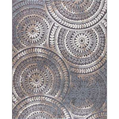 Spiral Medallion Cool Gray 5 ft. x 7 ft. Tones Area Rug