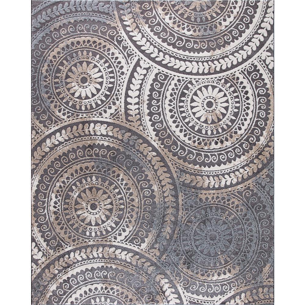 Spiral Medallion Cool Gray Tones 8 ft. x 10 ft. Area Rug