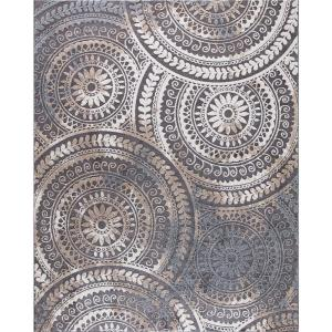 Spiral Medallion Gray 9 ft. x 13 ft. Geometric Area Rug