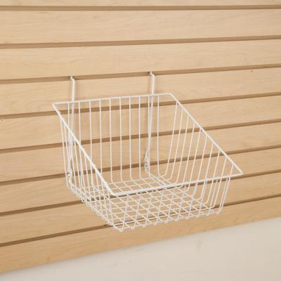 12 in. W x 12 in. D x 8 in. H White Sloped-Front Wire Basket (Pack of 6)