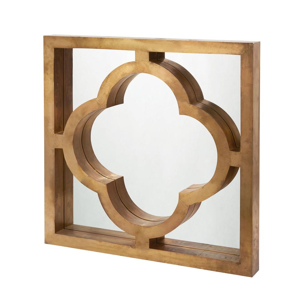 Quatrefoil 36 in. Square Brass Clad Framed Mirror