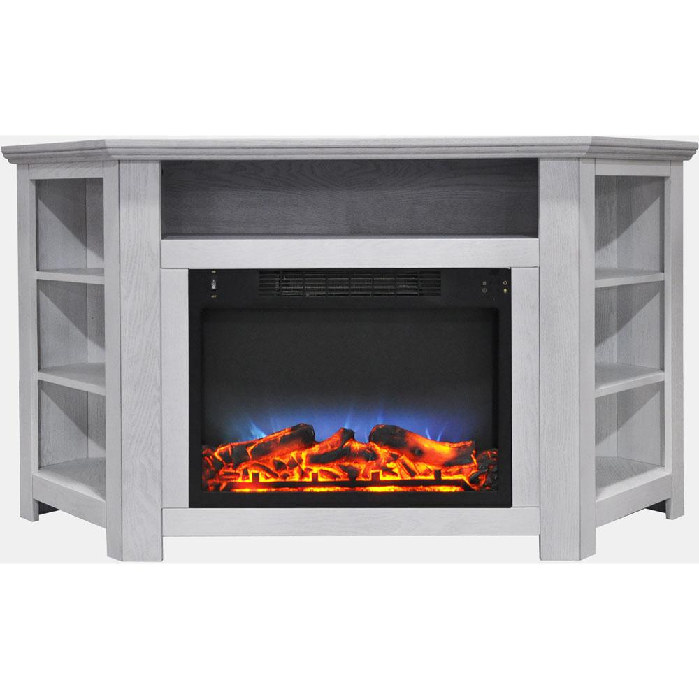 Stratford 56 in. Electric Corner Fireplace in White with LED Multi-Color