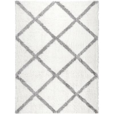 Carmela Ivory/Gray Trellis Shag 3 ft. x 4 ft. Indoor Area Rug