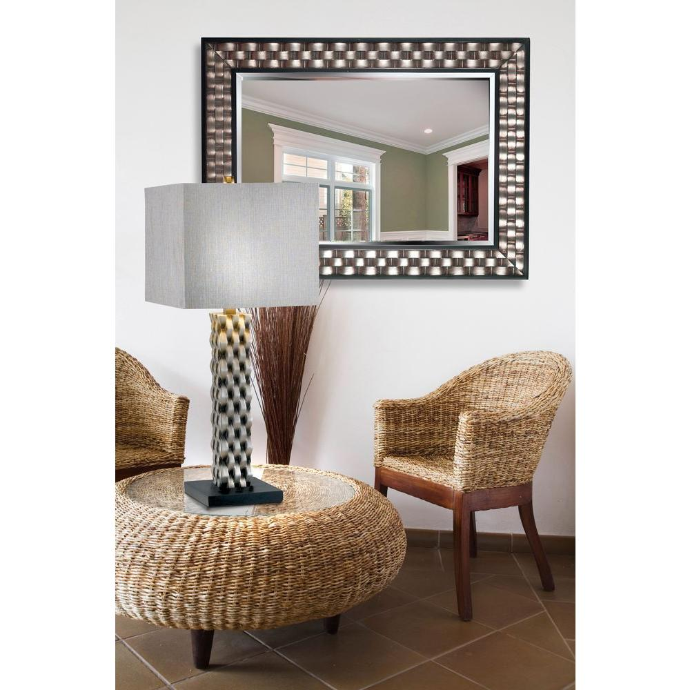 Home decorators collection checker 38 in x 28 in wood framed mirror 60013 the home depot Home decorators collection mirrors