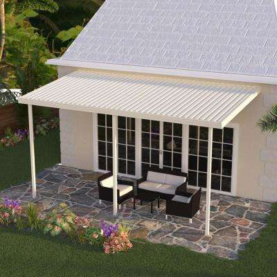 8 ft. x 14 ft. Ivory Aluminum Attached Solid Patio Cover with 3-Posts Maximum Roof Load 30 lbs.