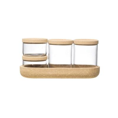 4-Piece Glass Containers with Cork Lids and Tray