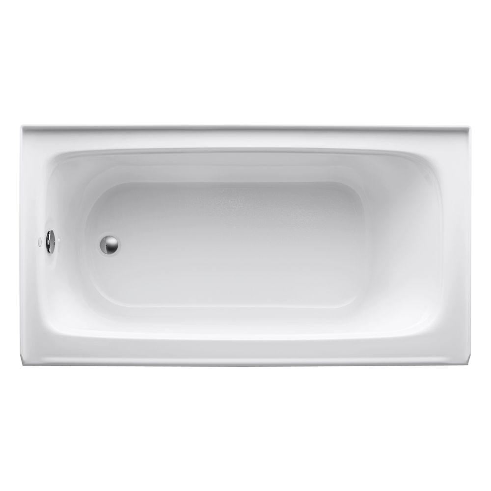 Kohler Bancroft 5 Ft Acrylic Left Drain Rectangular Alcove Non Whirlpool Bathtub In White