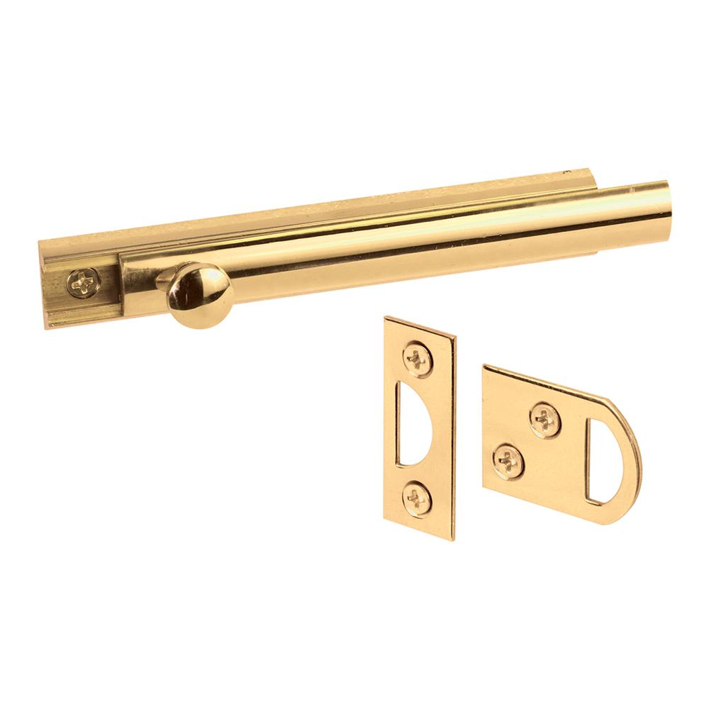 Prime-Line 4 in. Solid Brass Surface Bolt