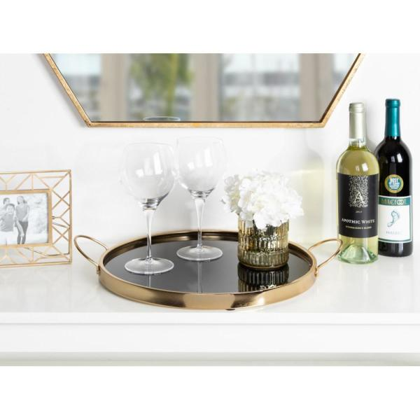 Kate and Laurel Kea Black/Gold Decorative Tray 213044