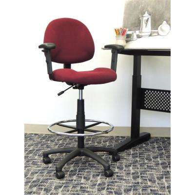 Burgundy Adjustable Arm Drafting Stool