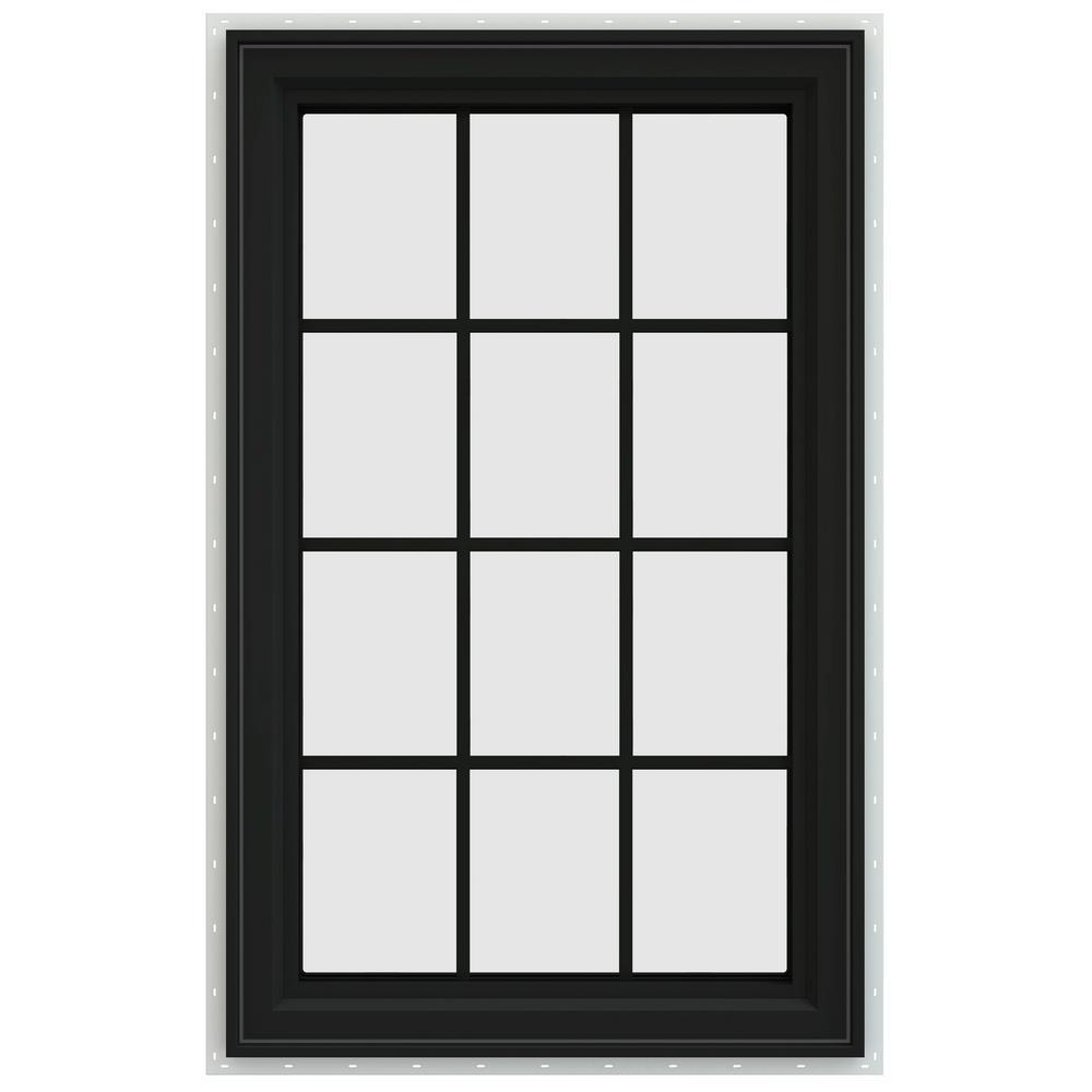 35.5 in. x 47.5 in. V-4500 Series Right-Hand Casement Vinyl Window with Grids - Bronze