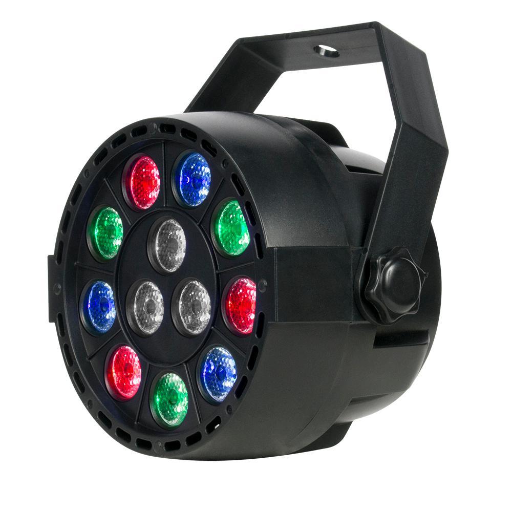14-Watt Integrated Led Dimmable Low Bay Black Mini Par RGBW 12 x 1-Watt LED