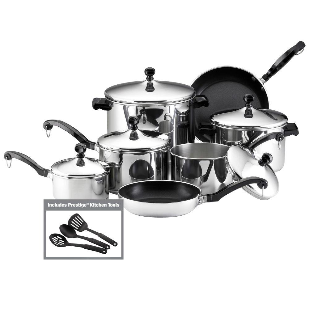 Farberware Classic Series 15 Piece Silver Cookware Set With Lids