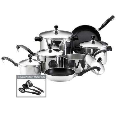 Classic Series 15-Piece Silver Cookware Set with Lids