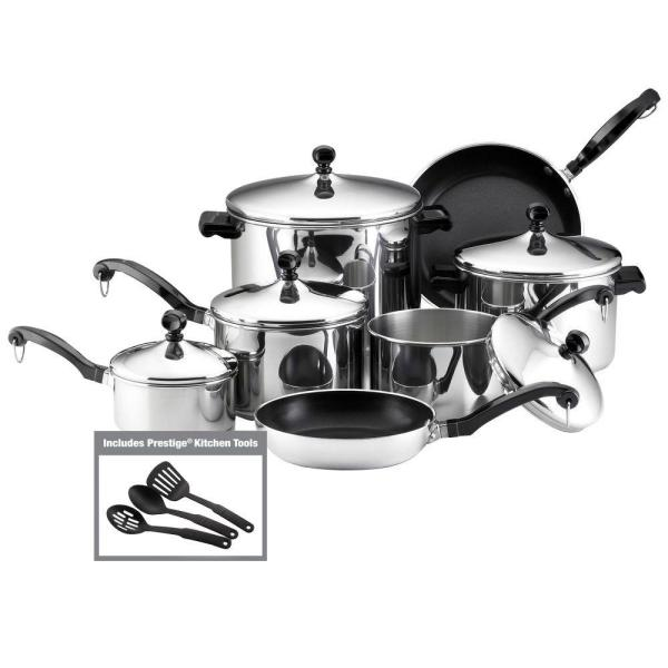 Farberware Classic Series 15-Piece Silver Cookware Set with Lids 50049