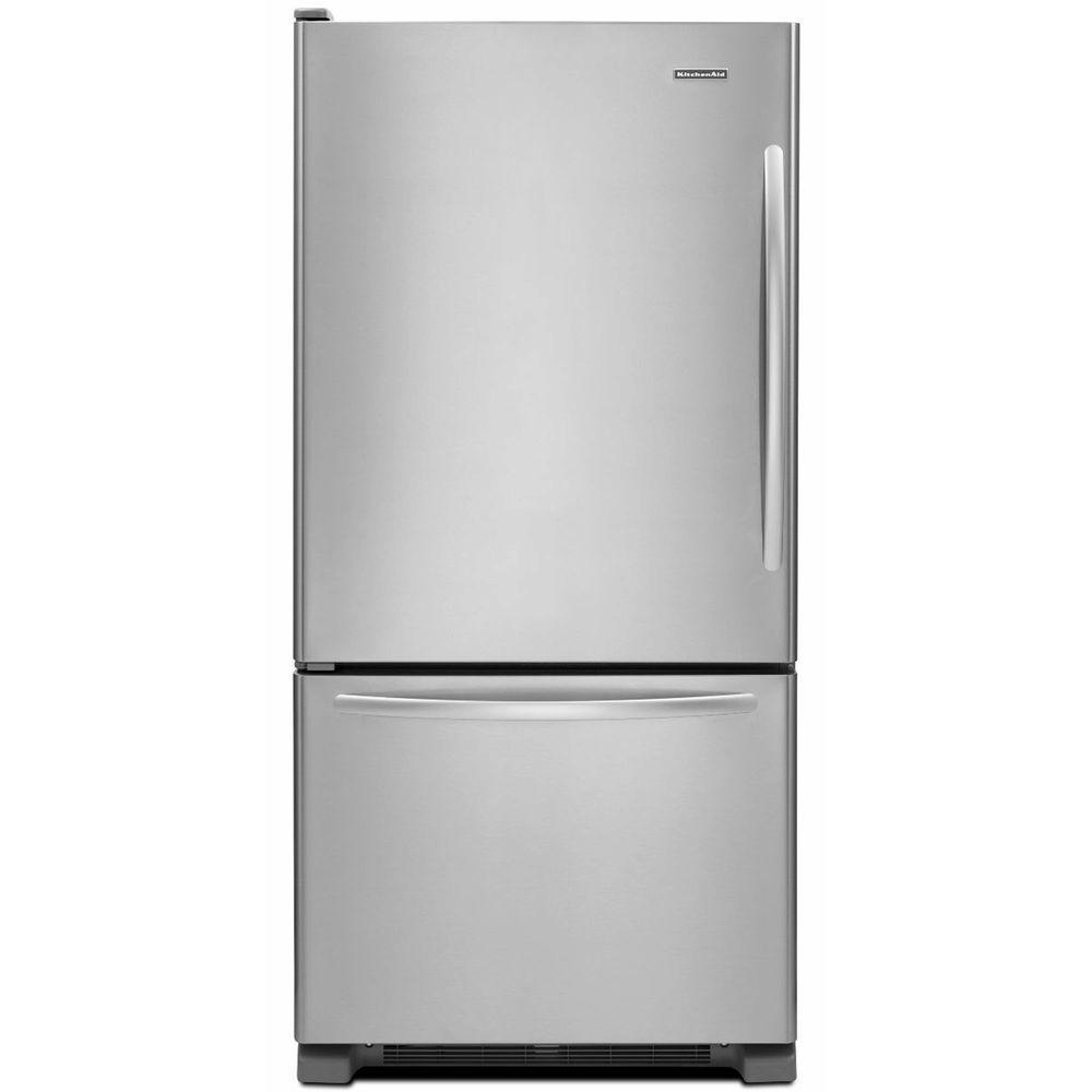 KitchenAid Architect Series II 33 in. W 22.1 cu. ft. Bottom Freezer Refrigerator in Monochromatic Stainless Steel