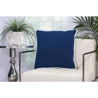 2 Sided Solid Corded 20 in. x 20 in. Navy Indoor and Outdoor Pillow
