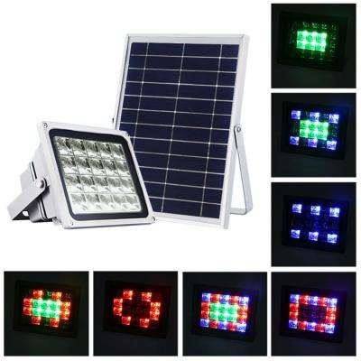 Solar Powered Gray Outdoor Integrated LED Landscape Flood Light Color RGB Selectable for Safety and Decoration