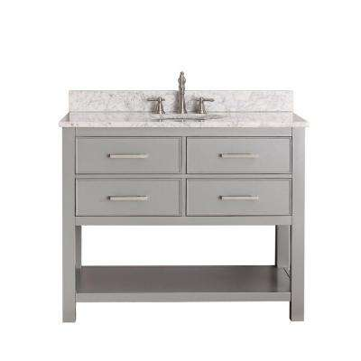 Brooks 43 in. W x 22 in. D x 35 in. H Vanity in Chilled Gray with Marble Vanity Top in Carrera White and White Basin