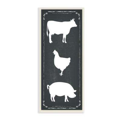 "7 in. x 17 in. ""Black and White Farm Animal Silhouette"" by ND Art Printed Wood Wall Art"