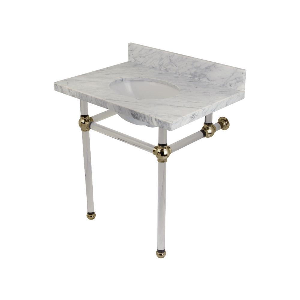 Acrylic legs for furniture Sofa Console Table In Carrara Marble White With Acrylic Legs In Polished Nickel People Kingston Brass Washstand 30 In Console Table In Carrara Marble