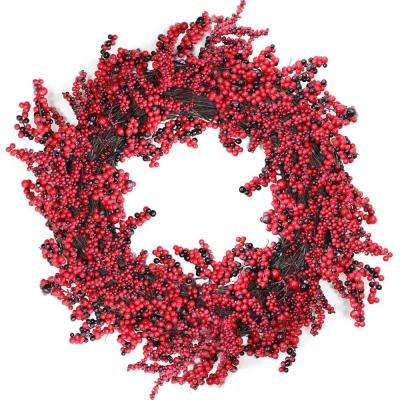 22 in. Unlit Decorative Artificial Burgundy Red Berry Christmas Wreath