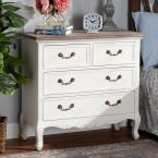 29.5 in. H x 31.5 in. W x 13.78 in. D Amalie 4-Drawer White and Oak Dresser