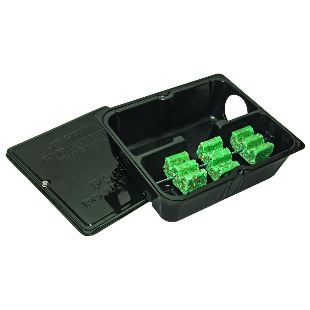 JT Eaton Strongbox Tamper Resistant Steel Bait Station with Solid Lid in Black Powder Coat Finish (12-Pack)