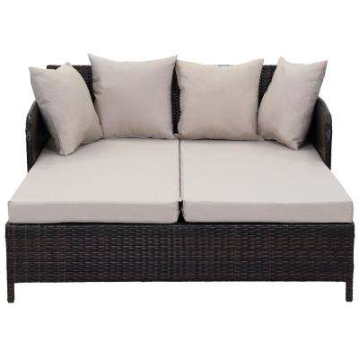 August Brown Wicker Outdoor Day Bed with Sand Cushions