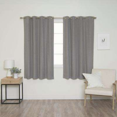 Linen Look 52 in. W x 63 in. L Grommet Curtains in Grey (2-Pack)