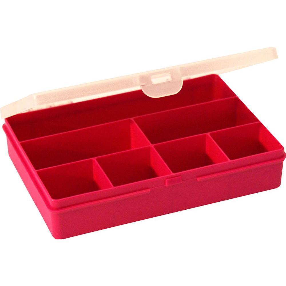7.5 in. 7-Compartment Small Parts Organizer Box in Fuschia