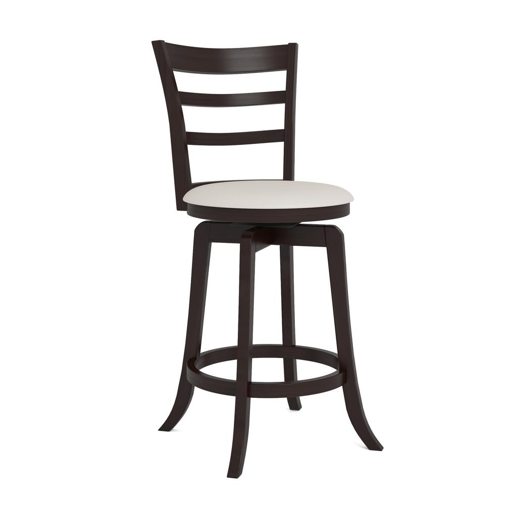 Espresso counter height swivel bar stool with white