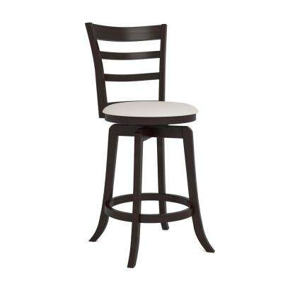 Woodgrove 24 in. Espresso Counter Height Swivel Bar Stool with White Leatherette Seat