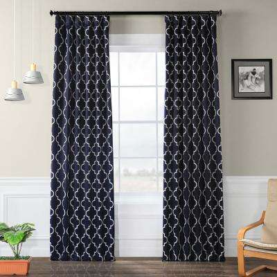 Semi-Opaque Seville Navy Blackout Curtain - 50 in. W x 120 in. L (Panel)