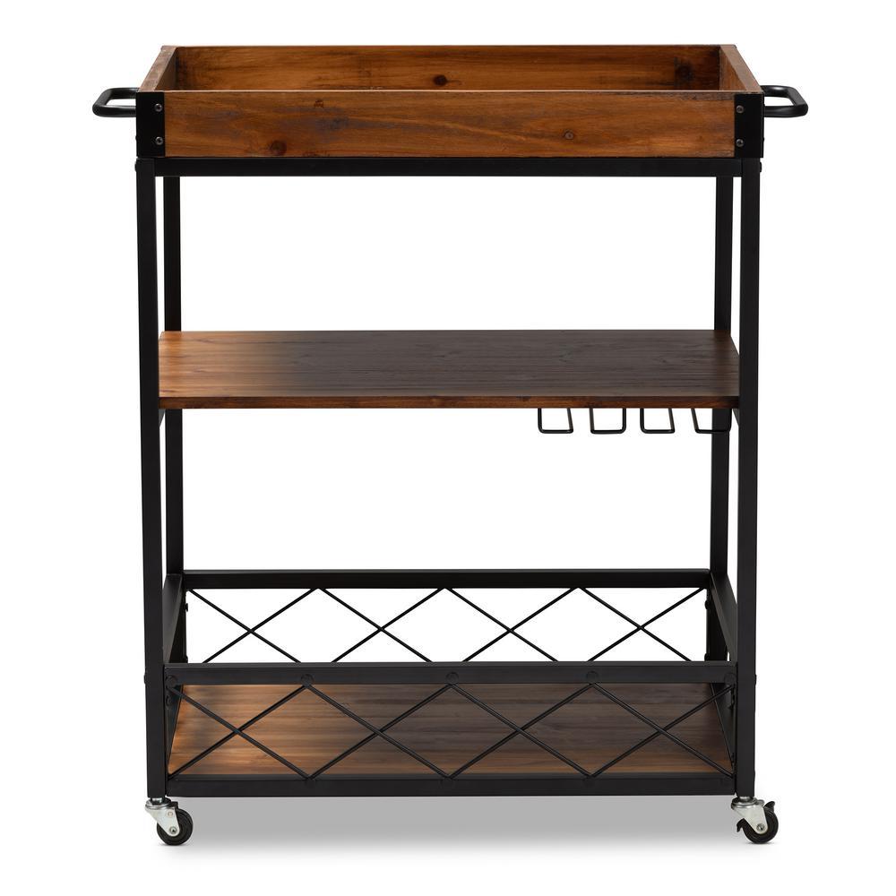 Capri Golden Oak and Black Bar Cart With Rack
