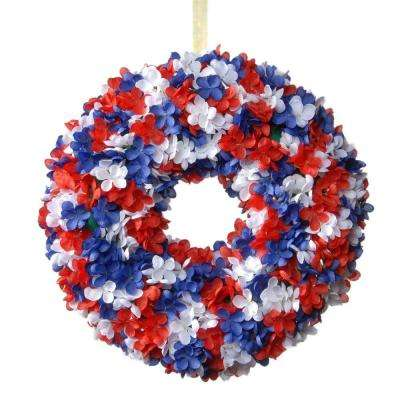 14 in. Patriotic Hydrangea Wreath