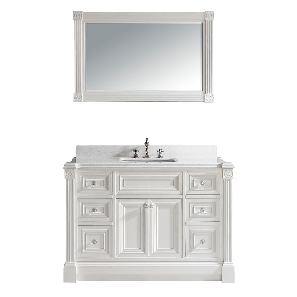 Studio Bathe Avenue 48 in. W x 23 in. D Vanity in White with Engineered Solid Surface Vanity Top in White with White Basin and Mirror