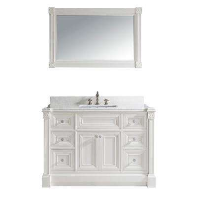 Avenue 48 in. W x 23 in. D Vanity in White with Engineered Solid Surface Vanity Top in White with White Basin and Mirror