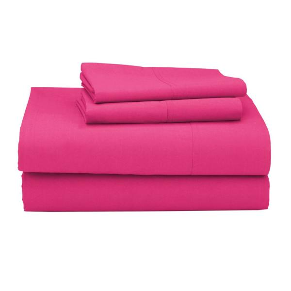 The Company Clic 3 Piece Hot Pink 210 Thread Count Percale Twin Sheet Set
