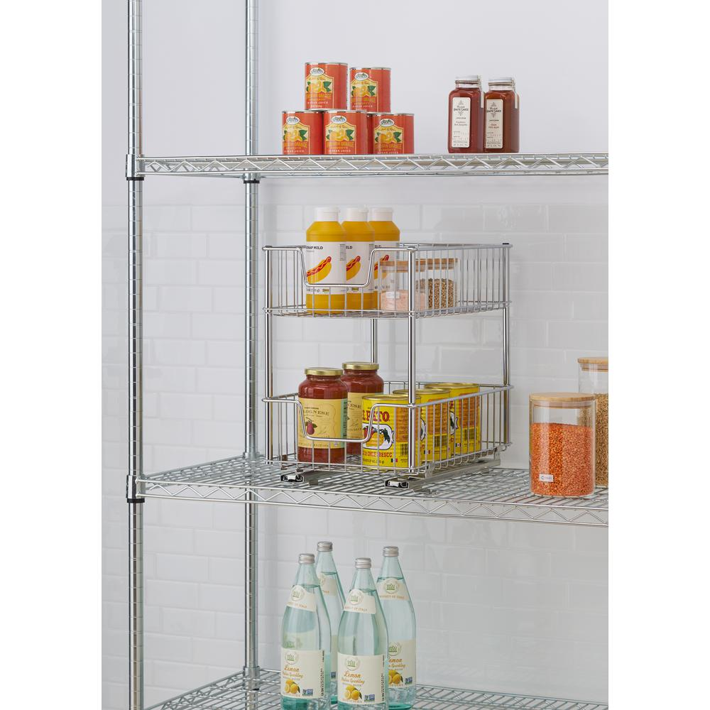 TRINITY EcoStorage 11.5 in. W x 17.75 in. D x 16.5 in. H Chrome Wire in Cabinet Pull-Out Bottom Mount 2-Tier Drawer - (2-Pack)
